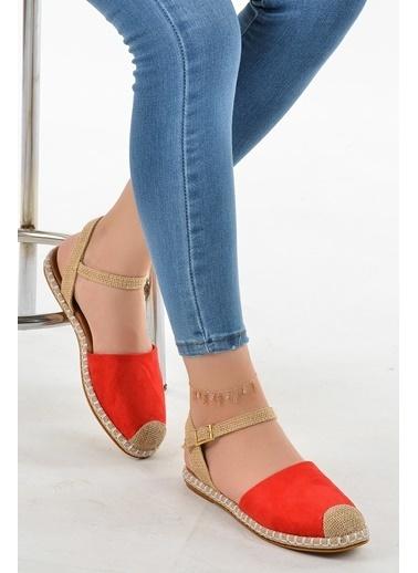 Ayakland Ayakland Crn 7573 Süet Bilekten Kemerli Bayan Babet Ayakkabı Kırmızı